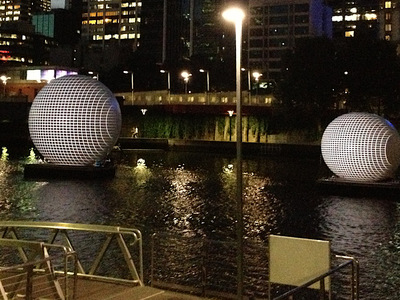 5m and 7m Projection Inflatable Spheres Yarra River Barge